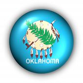 Round Button Usa State Flag Of Oklahoma
