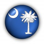 Round Button Usa State Flag Of South Carolina