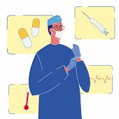 Therapist In Uniform Color Vector Illustration. Cardiologist, Surgeon. Character. Doctor In Face Mas poster