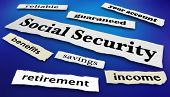 Social Security Benefits Payments News Headlines 3d Illustration poster