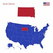 The State Of South Dakota Is Highlighted In Red. Blue Vector Map Of The United States Divided Into S poster