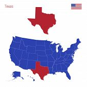 The State Of Texas Is Highlighted In Red. Blue Vector Map Of The United States Divided Into Separate poster