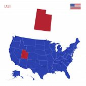 The State Of Utah Is Highlighted In Red. Blue Vector Map Of The United States Divided Into Separate  poster