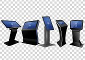 Five Promotional Interactive Information Kiosk, Advertising Display, Terminal Stand, Touch Screen Di poster