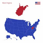 The State Of West Virginia Is Highlighted In Red. Blue Vector Map Of The United States Divided Into  poster