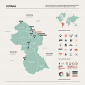 Vector Map Of Guyana.  High Detailed Country Map With Division, Cities And Capital Georgetown. Polit poster