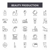 Beauty Production Line Icons, Signs Set, Vector. Beauty Production Outline Concept, Illustration: Pr poster