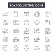 Boys Collection Line Icons, Signs Set, Vector. Boys Collection Outline Concept, Illustration: Boy, C poster