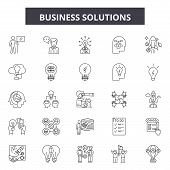 Business Solutions Line Icons, Signs Set, Vector. Business Solutions Outline Concept, Illustration:  poster
