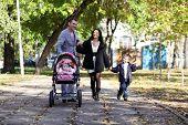 family in autumn park