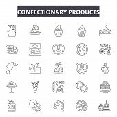 Confectionary Products Line Icons, Signs Set, Vector. Confectionary Products Outline Concept, Illust poster