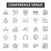 Conference Venue Line Icons, Signs Set, Vector. Conference Venue Outline Concept, Illustration: Mode poster