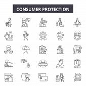 Consumer Protection Line Icons, Signs Set, Vector. Consumer Protection Outline Concept, Illustration poster