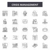 Crisis Management Line Icons, Signs Set, Vector. Crisis Management Outline Concept, Illustration: Cr poster