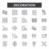 Decoration Line Icons, Signs Set, Vector. Decoration Outline Concept, Illustration: Decoration, Deho poster