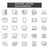Desktop Laptops Notebooks Line Icons, Signs Set, Vector. Desktop Laptops Notebooks Outline Concept,  poster