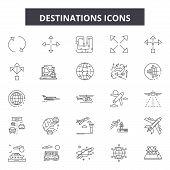 Destinations Line Icons, Signs Set, Vector. Destinations Outline Concept, Illustration: Destination, poster