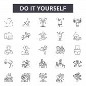 Do It Yourself Line Icons, Signs Set, Vector. Do It Yourself Outline Concept, Illustration: Diy, Hom poster