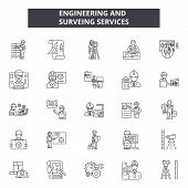 Engineering And Surveing Services Line Icons, Signs Set, Vector. Engineering And Surveing Services O poster
