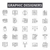 Graphic Designers Line Icons, Signs Set, Vector. Graphic Designers Outline Concept, Illustration: De poster