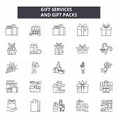 Gift Services And Packs Line Icons, Signs Set, Vector. Gift Services And Packs Outline Concept, Illu poster