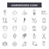 Hairdressers Line Icons, Signs Set, Vector. Hairdressers Outline Concept, Illustration: Hairdresser, poster