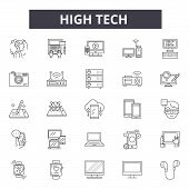 High Tech Line Icons, Signs Set, Vector. High Tech Outline Concept, Illustration: Technology, Tech,  poster
