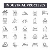 Industrial Processes Line Icons, Signs Set, Vector. Industrial Processes Outline Concept, Illustrati poster