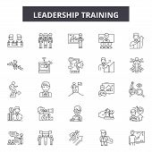 Leadership Training Line Icons, Signs Set, Vector. Leadership Training Outline Concept, Illustration poster