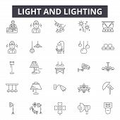 Light And Lighting Line Icons, Signs Set, Vector. Light And Lighting Outline Concept, Illustration:  poster