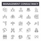 Management Consultancy Line Icons, Signs Set, Vector. Management Consultancy Outline Concept, Illust poster