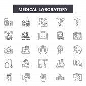 Medical Laboratory Line Icons, Signs Set, Vector. Medical Laboratory Outline Concept, Illustration:  poster