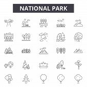 National Park Line Icons, Signs Set, Vector. National Park Outline Concept, Illustration: Park, Natu poster