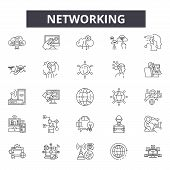 Networking Line Icons, Signs Set, Vector. Networking Outline Concept, Illustration: Connection, Netw poster