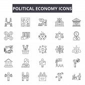 Political Economy Line Icons, Signs Set, Vector. Political Economy Outline Concept, Illustration: Ec poster