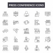 Press Conference Line Icons, Signs Set, Vector. Press Conference Outline Concept, Illustration: Pres poster