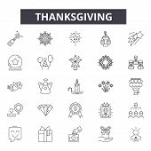 Thanksgiving Line Icons, Signs Set, Vector. Thanksgiving Outline Concept, Illustration: Thanksgiving poster