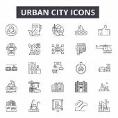 Urban City Line Icons, Signs Set, Vector. Urban City Outline Concept, Illustration: City, Urban, Tow poster