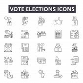 Vote Elections Line Icons, Signs Set, Vector. Vote Elections Outline Concept, Illustration: Voting,  poster