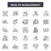 Wealth Management Line Icons, Signs Set, Vector. Wealth Management Outline Concept, Illustration: We poster