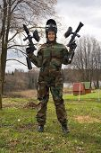 Active Girl Playing Paintball.