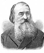 Portrait of a Russian writer Alexei Pleshcheev. Engraving by Baranovsky. Published in magazine