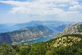 Spectacular View Of The Bay Of Kotor In Montenegro. View Of The Bay And The City Of Kotor From The T poster