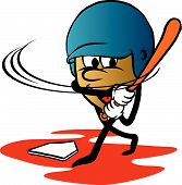 Cartoon Of Animated Acorn Swinging Baseball Bat poster
