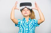 Little Gamer Concept. Child Play Virtual Games With Modern Device. Explore Virtual Opportunity. Newe poster