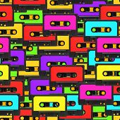 picture of magnetic tape  - Colorful 80s analoge audio tape background repeatable pattern - JPG