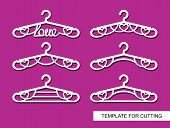 Set Of Decorative Clothes Hangers With A Heart And The Word Love. Decorative Items For Atelier, Wedd poster