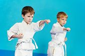 two boys training karate kata exercises at test qualification