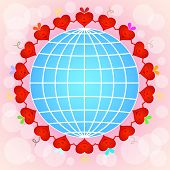 foto of pinky  - Cartoon red hearts circle around globe on pinky background - JPG
