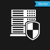 White Server With Shield Icon Isolated On Black Background. Protection Against Attacks. Network Fire poster